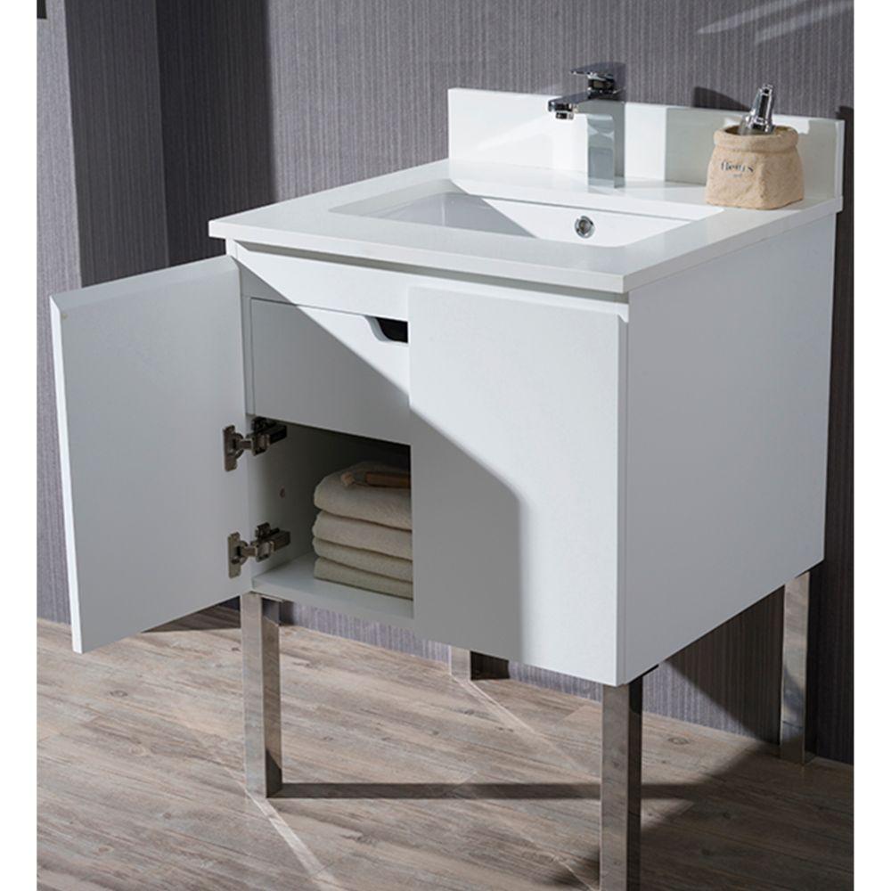 "Monaco Modern 24"" Bathroom Vanity Set with Mirror and Chrome Legs, Matte White"