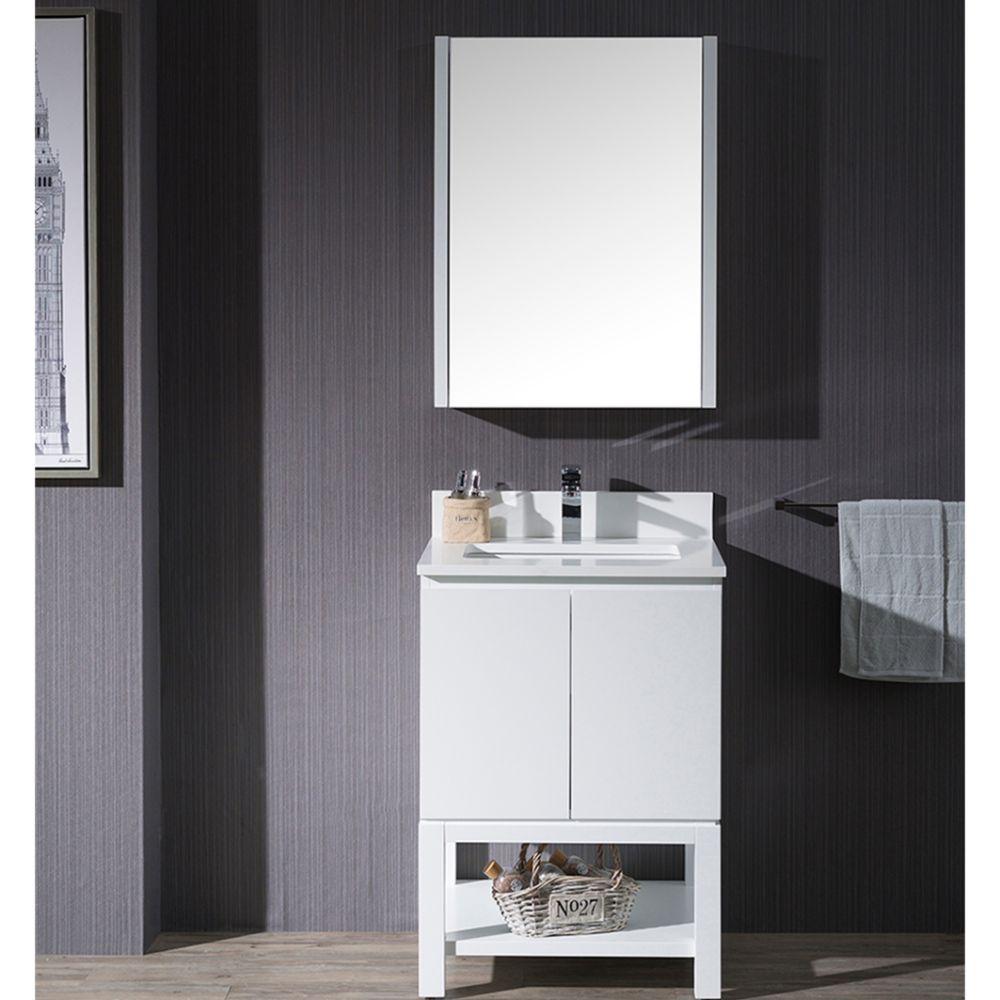 "Monaco Modern 24"" Bathroom Vanity Set with Mirror and Wood Legs, Matte White"