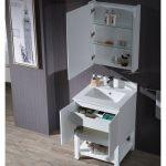 Monaco Modern 24″ Bathroom Vanity Set with Mirror and Wood Legs, Matte White