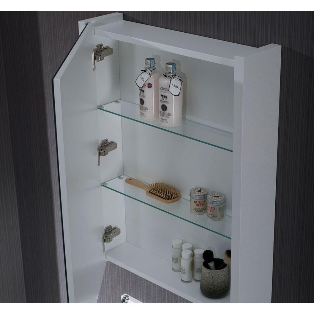 "Monaco Modern 24"" Bathroom Vanity Set with Medicine Cabinet and Wood Legs, Matte White"