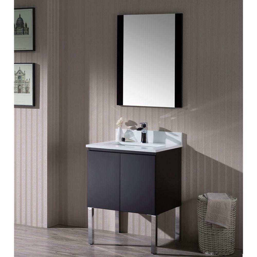 "Monaco Modern 24"" Bathroom Vanity Set with Mirror and Chrome Legs, Espresso"