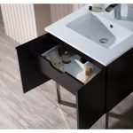 Monaco Modern 24″ Bathroom Vanity Set with Mirror and Chrome Legs, Espresso