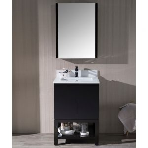 "Monaco Modern 24"" Bathroom Vanity Set with Mirror and Wood Legs, Espresso"