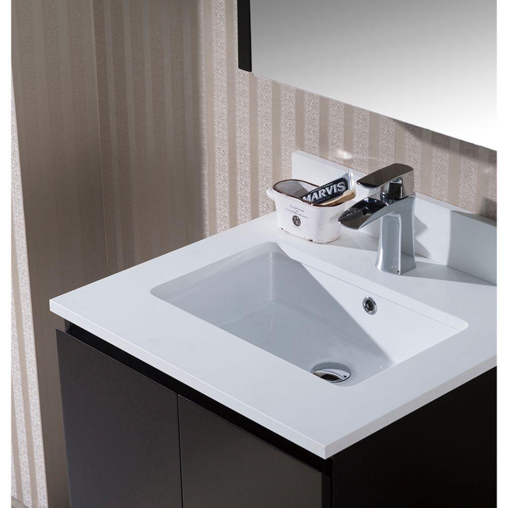 "Monaco Modern 24"" Bathroom Vanity Set with Mirror and Wood Legs, Espresso"