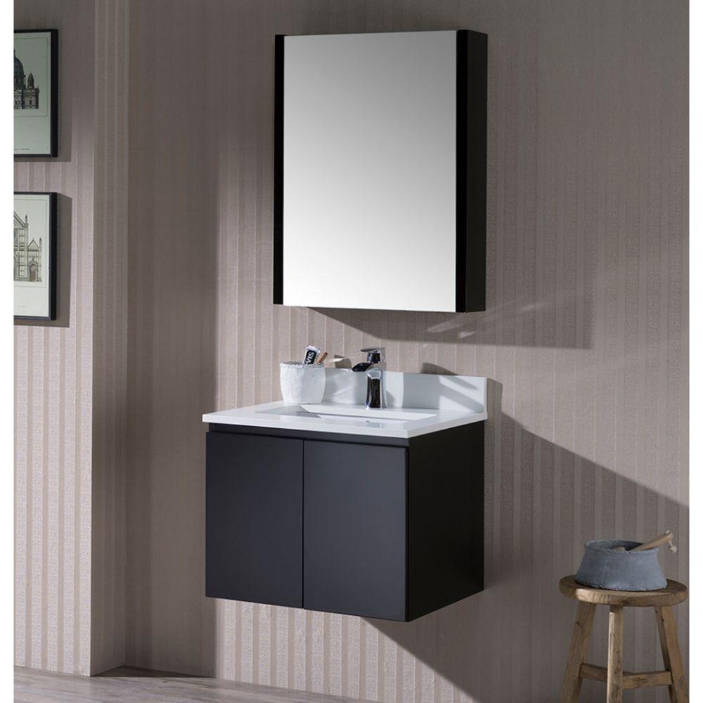 """Monaco Modern 24"""" Wall Mount Bathroom Vanity Set with Medicine Cabinet, Espresso"""