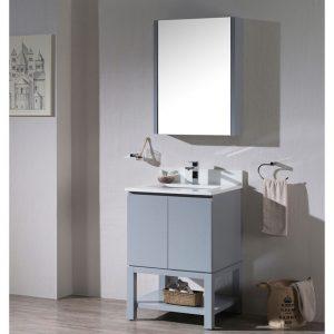 "Monaco Modern 24""  Bathroom Vanity Set with Medicine Cabinet and Wood Legs, Metal Grey"