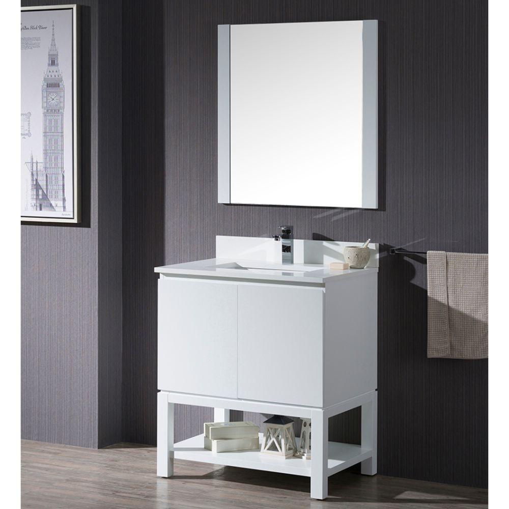 "Monaco Modern 30"" Matte White Bathroom Vanity Set with Mirror and Wood Legs"