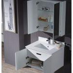 Monaco Modern 30″ Matte White Wall Mount Bathroom Vanity Set with Medicine Cabinet