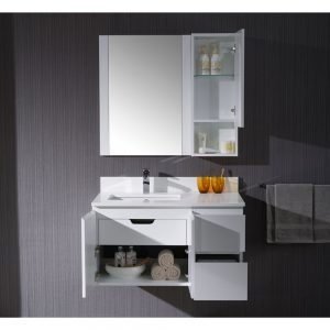 """Monaco Modern 36"""" Matte White Wall Mount Left Bathroom Vanity Set with Mirror and Wall Cabinet"""