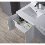 Monaco Modern 36″ Matte White Wall Mount Left Bathroom Vanity Set with Mirror and Wall Cabinet