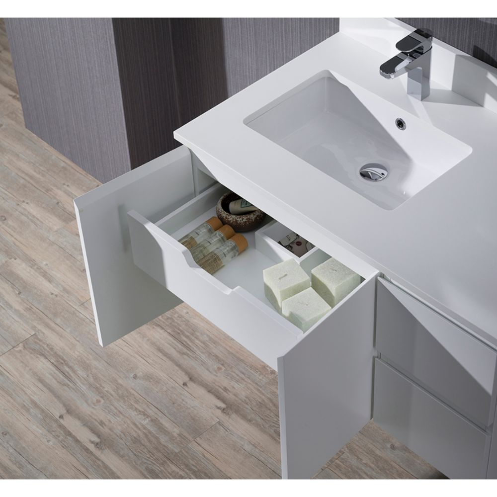 "Monaco Modern 36"" Matte White Wall Mount Left Bathroom Vanity Set with Mirror and Wall Cabinet"