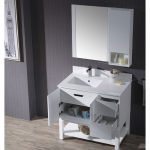 Monaco Modern 36″ Matte White Left Bathroom Vanity Set with Mirror, Wall Cabinet and Wood Legs