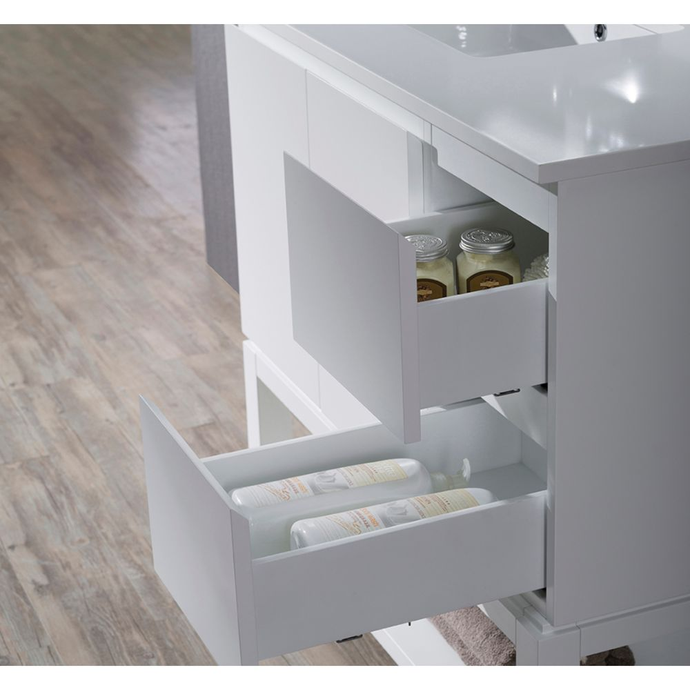 """Monaco Modern 36"""" Matte White Left Bathroom Vanity Set with Mirror, Wall Cabinet and Wood Legs"""