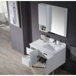 Monaco Modern 36″ Matte White Right Bathroom Vanity Set with Mirror, Wall Cabinet and Chrome Legs