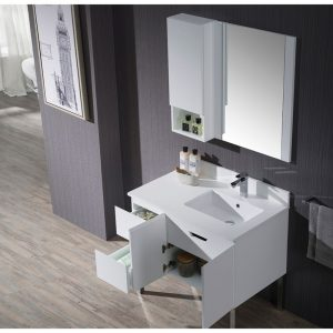 """Monaco Modern 36"""" Matte White Right Bathroom Vanity Set with Mirror, Wall Cabinet and Chrome Legs"""