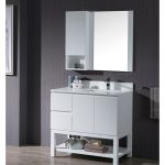Monaco Modern 36″ Matte White Right Bathroom Vanity Set with Mirror, Wall Cabinet and Wood Legs