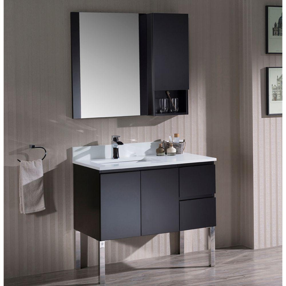 "Monaco Modern 36"" Espresso Left Bathroom Vanity Set with Mirror, Wall Cabinet and Chrome Legs"