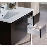 Monaco Modern 36″ Espresso Left Bathroom Vanity Set with Mirror, Wall Cabinet and Chrome Legs