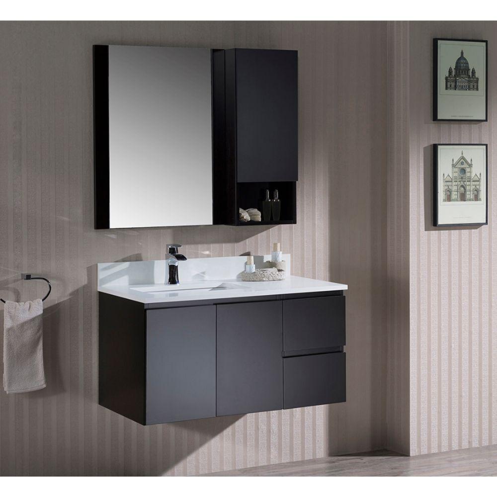 "Monaco Modern 36"" Espresso Wall Mount Left Bathroom Vanity Set with Mirror and Wall Cabinet"
