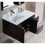 Monaco Modern 36″ Espresso Wall Mount Left Bathroom Vanity Set with Mirror and Wall Cabinet