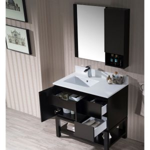 "Monaco Modern 36"" Espresso Left Bathroom Vanity Set with Mirror, Wall Cabinet and Wood Legs"