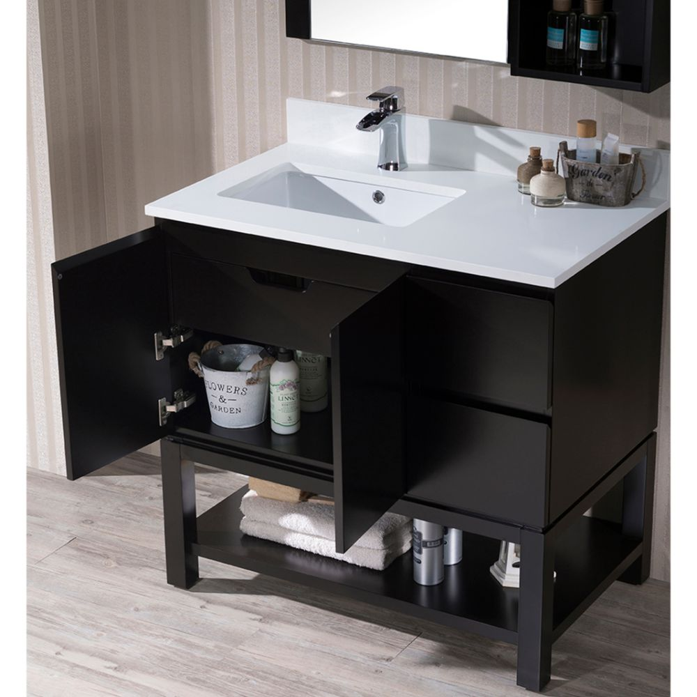"Monaco Modern 36"" Espresso Left Bathroom Vanity Set with Mirror, Wall Cabinet and Wood Legs"
