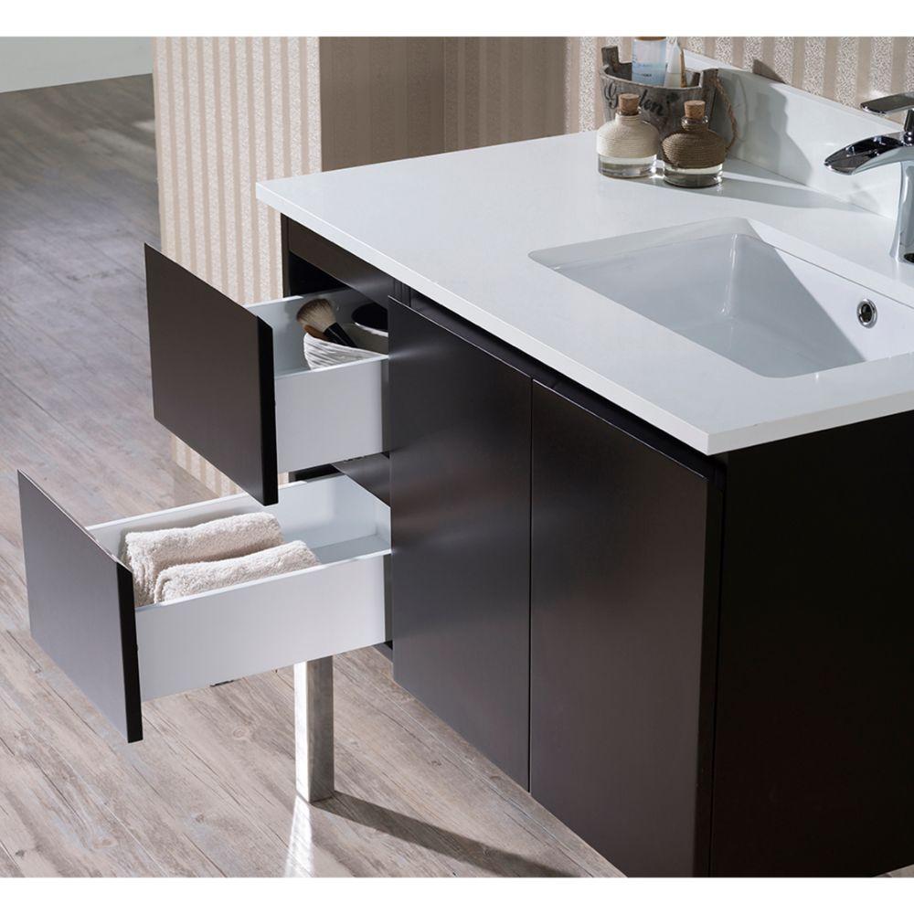 "Monaco Modern 36"" Espresso Right Bathroom Vanity Set with Mirror, Wall Cabinet and Chrome Legs"