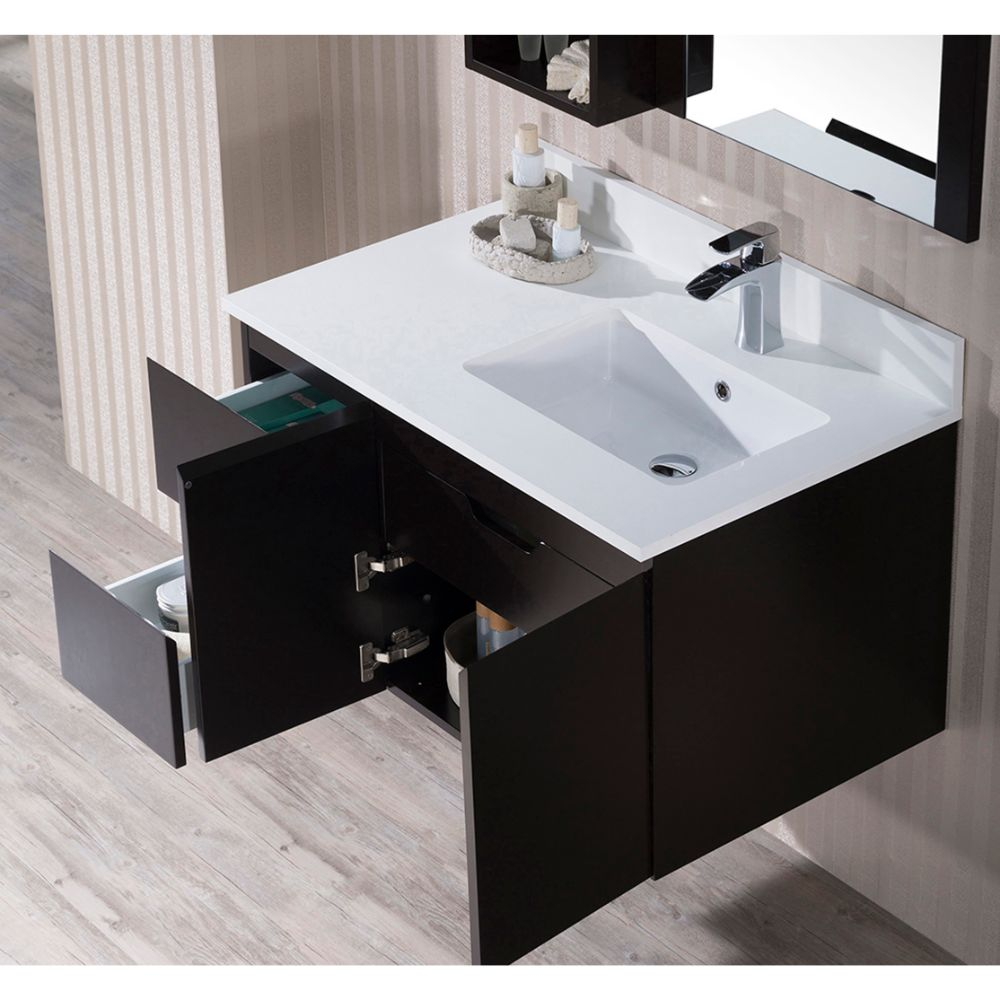 """Monaco Modern 36"""" Espresso Wall Mount Right Bathroom Vanity Set with Mirror and Wall Cabinet"""