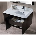 Monaco Modern 36″ Espresso Wall Mount Right Bathroom Vanity Set with Mirror and Wall Cabinet