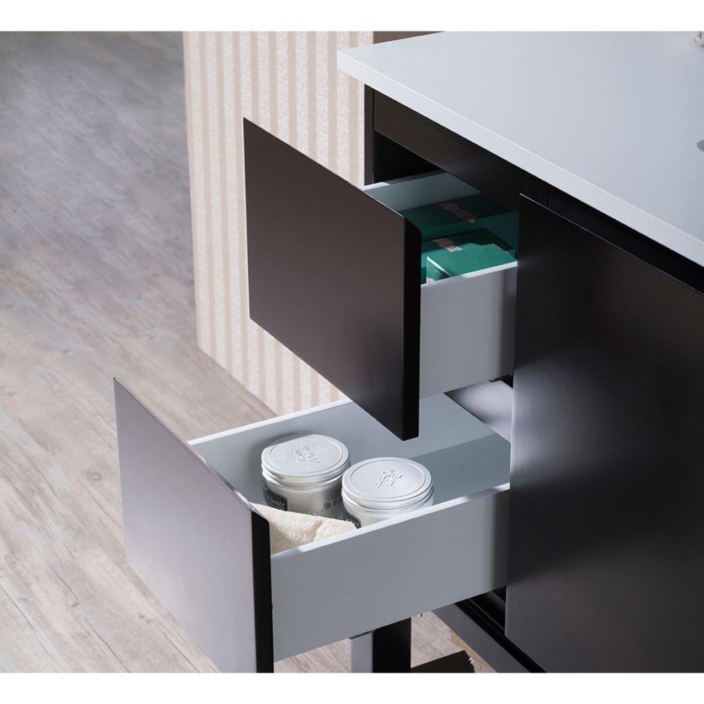 "Monaco Modern 36"" Espresso Right Bathroom Vanity Set with Mirror, Wall Cabinet and Wood Legs"