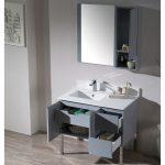 Monaco Modern 36″ Metal Gray Left Bathroom Vanity Set with Mirror, Wall Cabinet and Chrome Legs