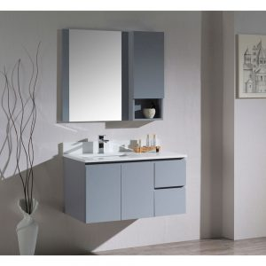"Monaco Modern 36"" Metal Gray Wall Mount Left Bathroom Vanity Set with Mirror and Wall Cabinet"