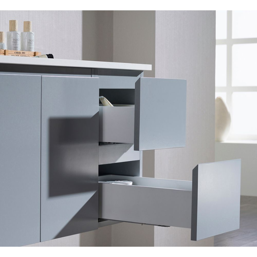 "Monaco Modern 36"" Metal Gray Wall Mount Left Bathroom Vanity Set with Mirror and Wall Cabinet"