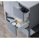 Monaco Modern 36″ Metal Gray Left Bathroom Vanity Set with Mirror, Medicine Wall Cabinet and Wood Legs