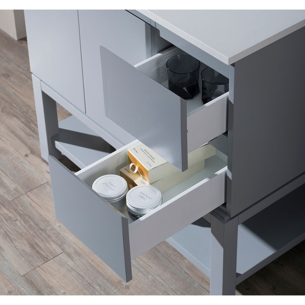 "Monaco Modern 36"" Metal Gray Left Bathroom Vanity Set with Mirror, Medicine Wall Cabinet and Wood Legs"