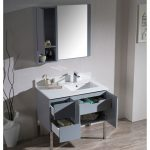 Monaco Modern 36″ Metal Gray Right Bathroom Vanity Set with Mirror, Wall Cabinet and Chrome Legs