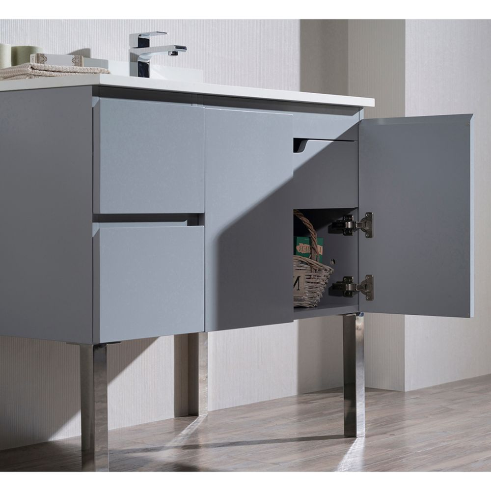 """Monaco Modern 36"""" Metal Gray Right Bathroom Vanity Set with Mirror, Wall Cabinet and Chrome Legs"""