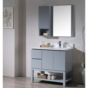 "Monaco Modern 36"" Metal Gray Right Bathroom Vanity Set with Mirror, Wall Cabinet and Wood Legs"