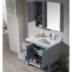 Monaco Modern 36″ Metal Gray Right Bathroom Vanity Set with Mirror, Wall Cabinet and Wood Legs