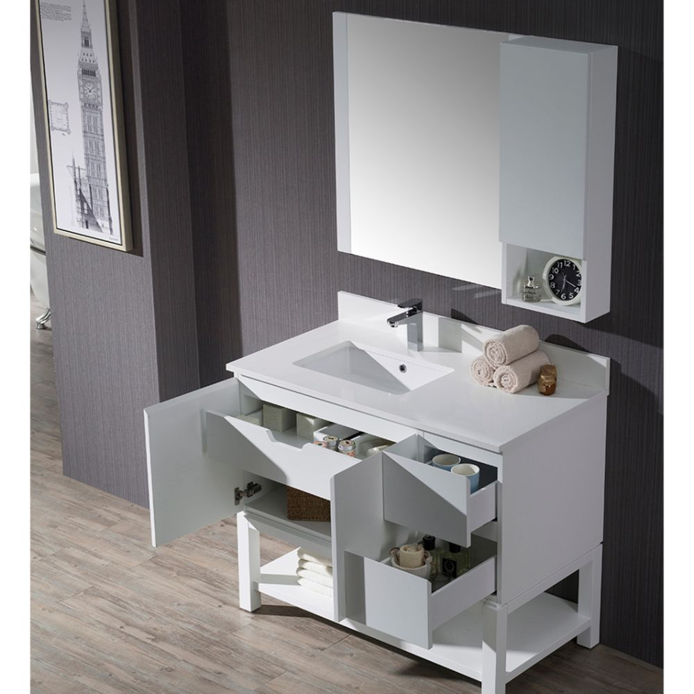 """Monaco Modern 42"""" Matte White Left Bathroom Vanity Set with Mirror, Wall Cabinet and Wood Legs"""