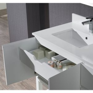"Monaco Modern 42"" Matte White Left Bathroom Vanity Set with Mirror, Wall Cabinet and Wood Legs"