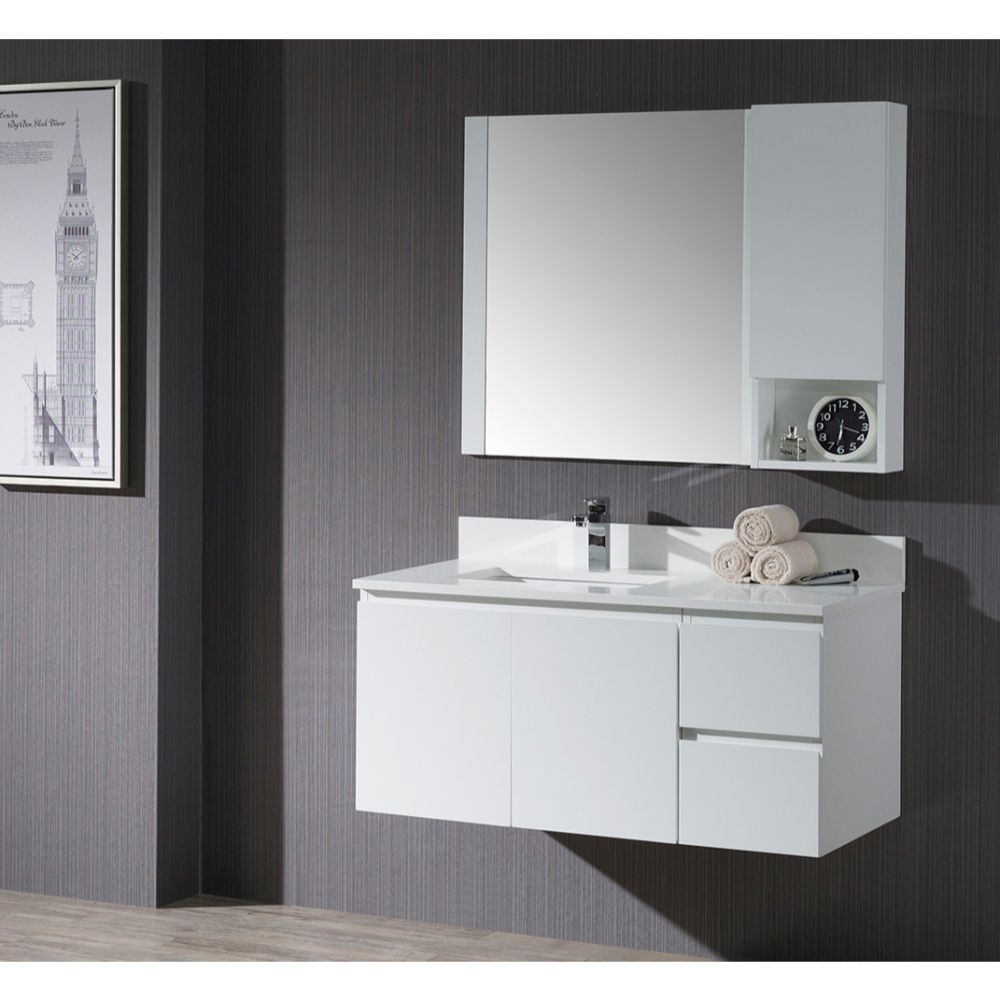 "Monaco Modern 42"" Matte White Wall Mount Left Bathroom Vanity Set with Mirror and Wall Cabinet"