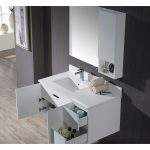Monaco Modern 42″ Matte White Wall Mount Left Bathroom Vanity Set with Mirror and Wall Cabinet