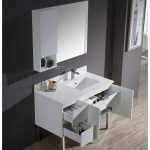 Monaco Modern 42″ Matte White Right Bathroom Vanity Set with Mirror, Wall Cabinet and Chrome Legs