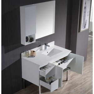 "Monaco Modern 42"" Matte White Right Bathroom Vanity Set with Mirror, Wall Cabinet and Chrome Legs"