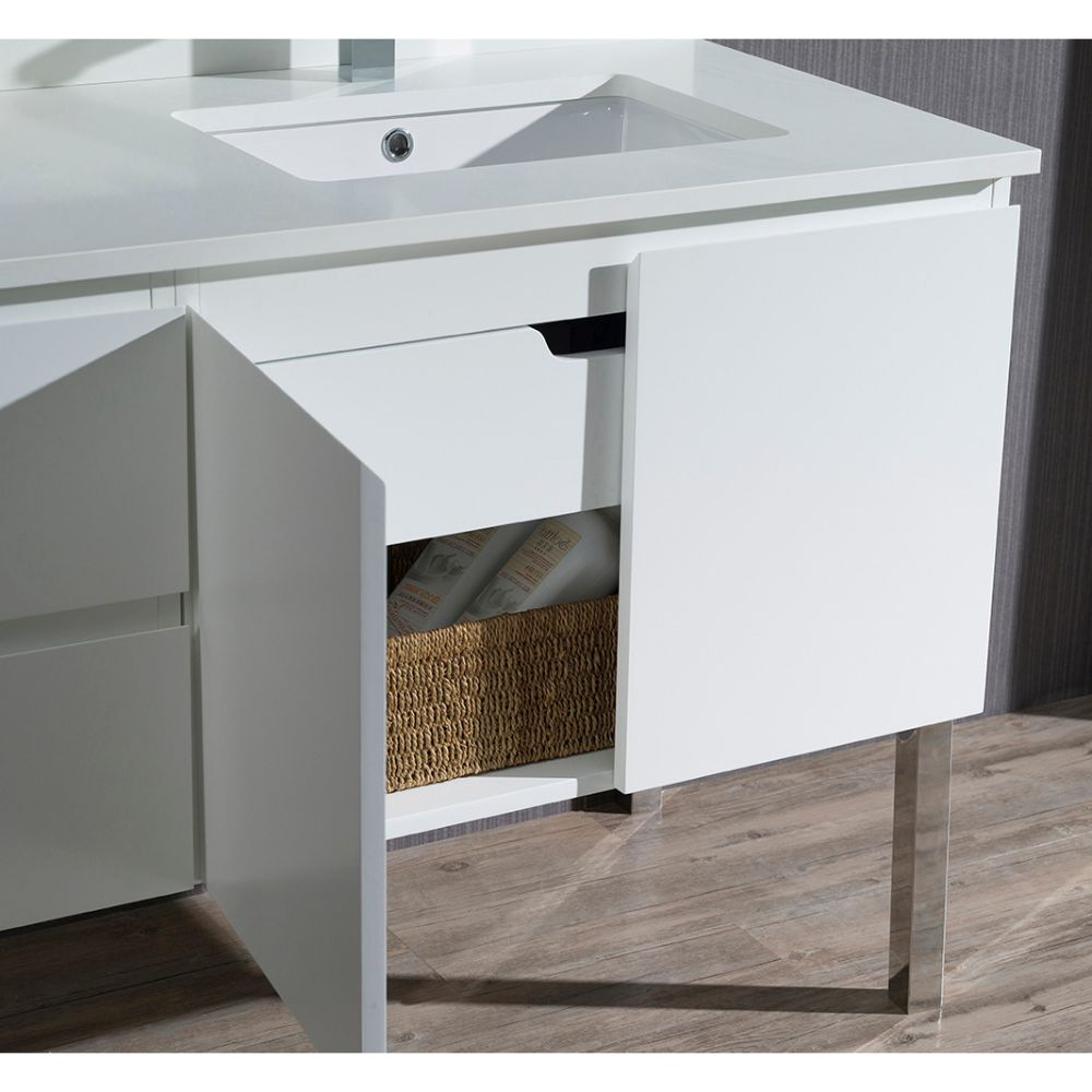 """Monaco Modern 42"""" Matte White Right Bathroom Vanity Set with Mirror, Wall Cabinet and Chrome Legs"""