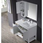 Monaco Modern 42″ Matte White Right Bathroom Vanity Set with Mirror, Wall Cabinet and Wood Legs