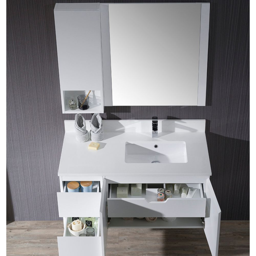 """Monaco Modern 42"""" Matte White Wall Mount Right Bathroom Vanity Set with Mirror and Wall Cabinet"""