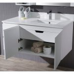 Monaco Modern 42″ Matte White Wall Mount Right Bathroom Vanity Set with Mirror and Wall Cabinet
