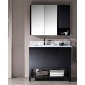 "Monaco Modern 42"" Espresso Left Bathroom Vanity Set with Mirror, Wall Cabinet and Wood Legs"